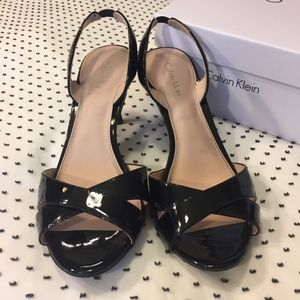 Calvin Klein black patent heeled sandals